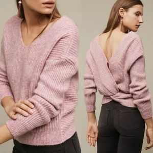 Anthropologie Twist Back Ribbed Sweater